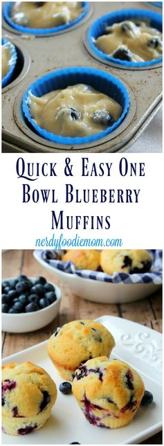 Quick & Easy One Bowl Blueberry Muffins