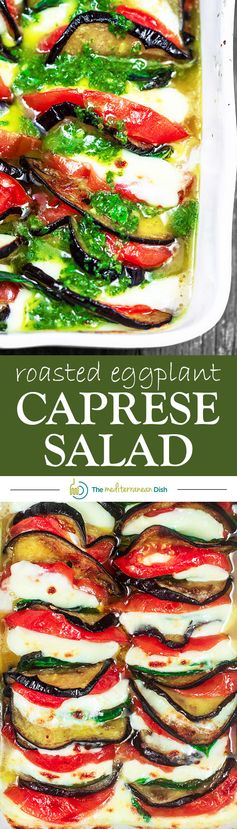 Roasted Eggplant Caprese Salad