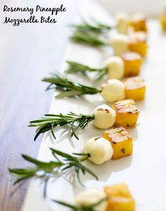 Rosemary Pineapple Mozzarella Bites