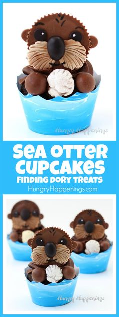 Sea Otter Cupcakes - Finding Dory Treats