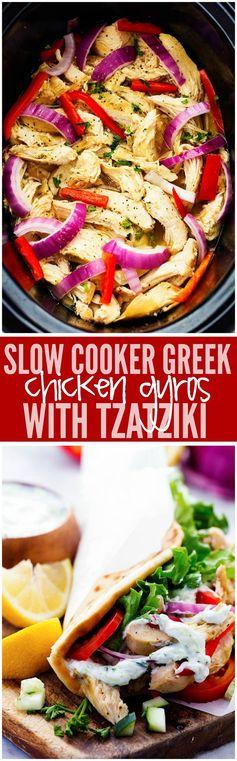 Slow Cooker Greek Chicken Gyros with Tzatziki
