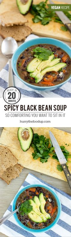 Spicy Black Bean Soup (20 Min, Vegan