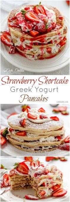 Strawberry Shortcake Greek Yogurt Pancakes