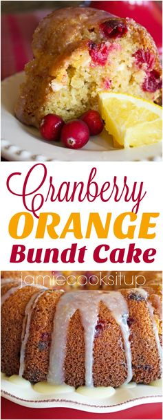 Cranberry Orange Bundt Cake with White Chocolate Glaze