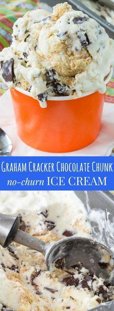 Graham Cracker Chocolate Chunk No-Churn Ice Cream