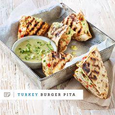 Grilled Turkey-Stuffed Pita with Cucumber and Tahini Sauce