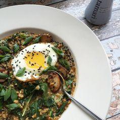Savory kale and crimini oatmeal with fried egg