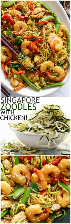 Singapore Zoodle Stir Fry With Chicken (Zucchini Noodles