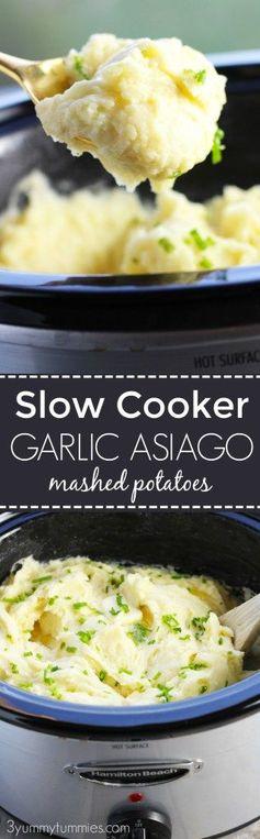 Slow Cooker Garlic Asiago Mashed Potatoes