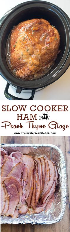 Slow Cooker Ham with Peach Thyme Glaze