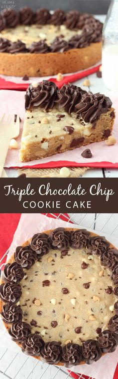 Triple Chocolate Chip Cookie Cake